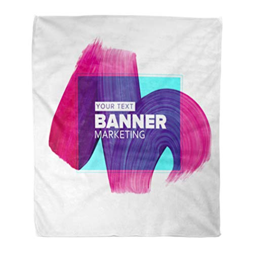 Golee Throw Blanket Girly Pink Blue Lipstick Smear for Media Booklet Flyers Placards 50x60 Inches Warm Fuzzy Soft Blanket for Bed Sofa