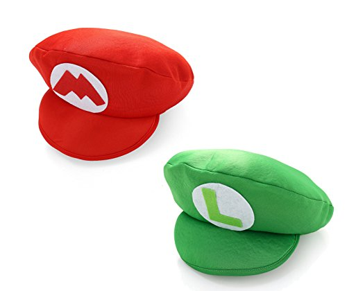 Bowser Costume Accessories (Super Mario Bros Red / Green Mario & Luigi Foam Hat Caps)