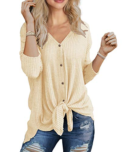 IWOLLENCE Womens Waffle Knit Tunic Blouse Tie Knot Henley Tops Bat Wing Plain Shirts Beige - Womens Knot Cloth