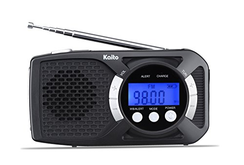 Kaito Digital KA360 DX Portable Hand Crank Solar AM/FM NOAA Weather Radio with Cell Phone Charger & 3-LED Flashlight (Sliver)