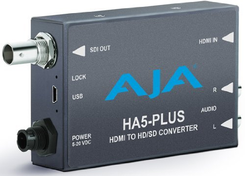 AJA HA5-Plus HDMI to 3G-SDI Mini-Converter, Supports 8 Ch of HDMI Embedded Audio ()