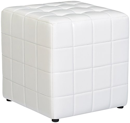 (First Hill Altair Square Faux-Leather Ottoman - Moonlight White)