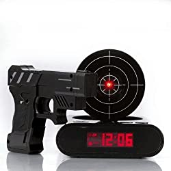 IreVoor Lock N' Load Gun Alarm Clock Target Alarm Clock Creative Gun Shooting Gaming Alarm Clock (Black)