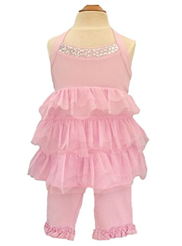 Kate Mack Little Girls' Pool Princess Toddler Tunic Capri Pant Set Pink (4 ()