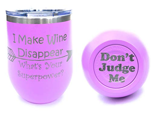 I Make Wine Disappear Whats Your Superpower? 12oz, Engraved Wine Tumbler w/lid (Light Purple)