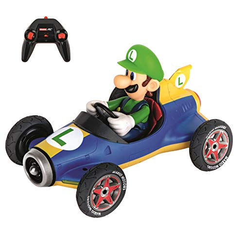 (Carrera RC Official Licensed Mario Kart Mach 8 Luigi 1: 18 Scale 2.4 Ghz Remote Radio Control Car with Rechargeable Lifepo4 Battery - Kids Toys Boys/Girls)