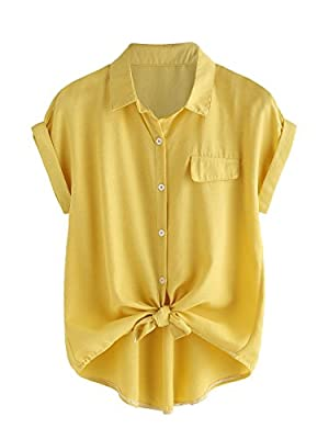 SheIn Women's Plain Lapel Collar Rolled Sleeve Knotted Front Blouse