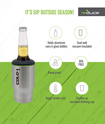 REDUCE Cold-1 Stainless Steel Can & Beer Bottle Cooler/Holder – Keeps Drinks Ice Cold – Double Wall Vacuum Insulated, Travels Anywhere, Sweat-Free Design, Fits 12oz Cans/Glass Bottles - Stainless by REDUCE (Image #2)