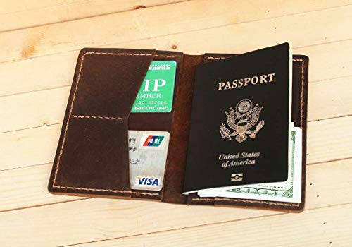 (Handmade High Quality Leather Passport Wallet Passport Holder for Men and)