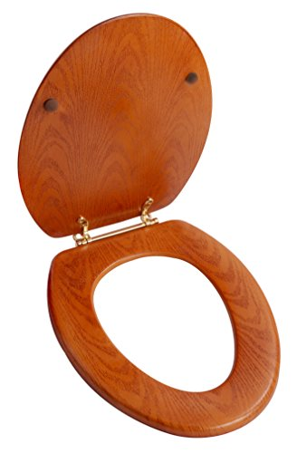 - LDR 050 1750 Elongated Wood Toilet Seat with Polished Brass Hinges, Oak Finish