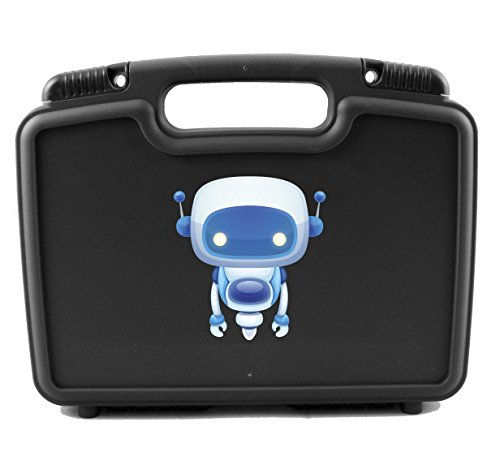 CASEMATIX Robot Box Case For Anki Cozmo Electronic Remote Smart Robot , Charger and Power Cubes – Protect And Keep Your Cozmo Safely Organized With This Fun Black and Blue Carry Case