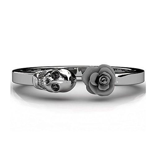 [Upgraded] Sugar Skull Band EVBEA Gothic Open Pink Blue Black White Purple Rose Girls Rings(6,BLACK) (Womens Sugar Band)