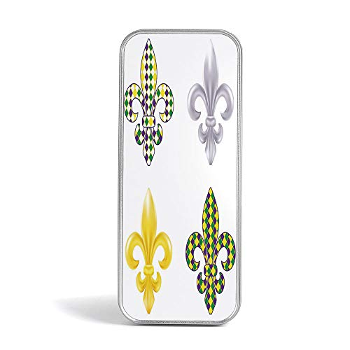 (Eco Friendly,Mini Pencil Box,Mardi Gras,Perfect Holder for Pencils and Pens,Fleur De Lis Motifs with Mardi Gras Pattern Traditional Lily Flowers Collection)