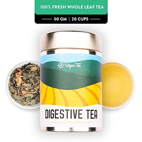 Udyan Digestive Tea, 50 gm (20 cups) | Wellness Tea | Aids Digestion, Relaxes Stomach | Green Tea with Cumin, Carom Seeds, Fennel, Ginger, Stevia & more | 100% Natural Loose Leaf Tea in Vacuum Pouch ()