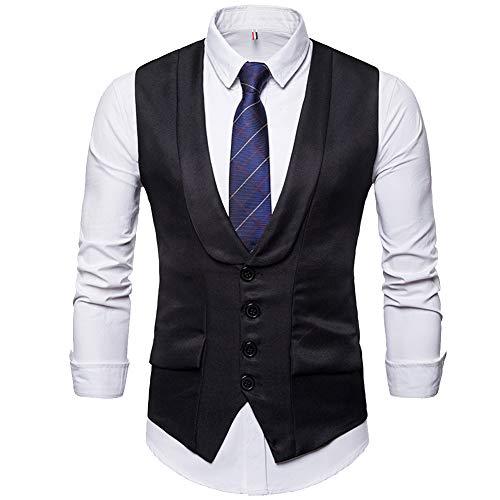 Cottory Men's Single Breast Shawl Lapel Design Suit Vest Slim Fit Dress Waistcoat Black Large