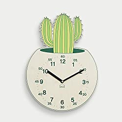 BEZIT Non-Ticking, Silent 11-Inch Wall Clock – Decorative, Modern, Clean, Cute, Kid-Friendly Design For Indoor, Office, Home, Baby Room (Green Cactus)