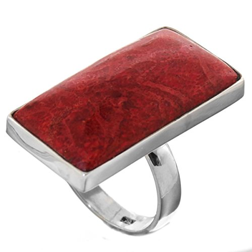 925 Sterling Silver Coral Ring (9 Bold Rectangle Red Coral 925 Sterling Silver Ring)
