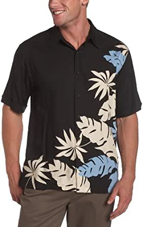 Cubavera Men's Short Sleeve Printed Rayon Shirt,Jet Black,Small