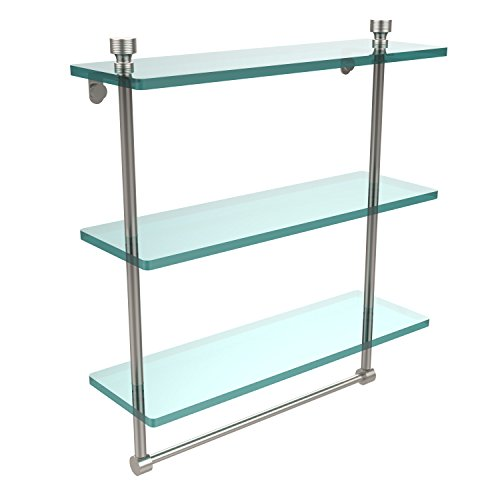 Allied Brass FT-5/16TB-SN Foxtrot Collection 16 Inch Triple Tiered Glass Shelf with Integrated Towel Bar, Satin Nickel ()