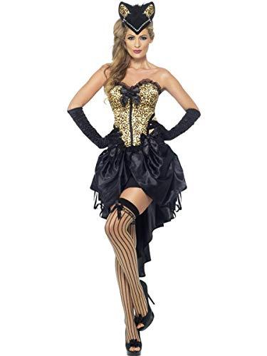 Fest Threads 2 PC Burlesque Madam Dancer Leopard Print Corset Top & High Low Skirt Costume -