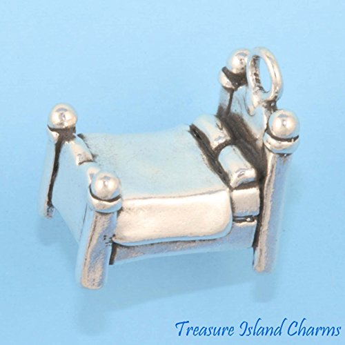 Four Poster Bed Bedroom 3D .925 Solid Sterling Silver Charm Ideal Gifts, Pendant, Charms, DIY Crafting, Gift Set from Heart by Wholesale Charms from Wholesale Charms