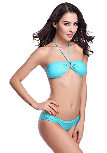 Botobkn Mujer Trajes 2pcs Halter Bikini Traje de Ba?o Set de Color Solido Blue