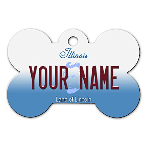BleuReign(TM Personalized Custom Name Illinois State License Plate Bone Shaped Metal Pet ID Tag with Contact Information