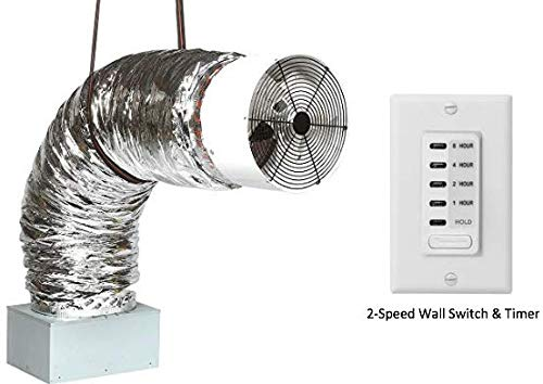 QA-Deluxe 3300(W) Whole House Fan | Includes 2-Speed Wall Switch & Digital Timer | 2425 CFM (HVI-916) | for 2-Story Homes Upto 1450 sqft and 1-Story Homes to 950 sqft.