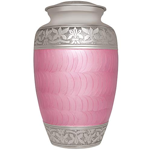 Liliane Memorials Pink Funeral Cremation Urn with Silver Engraved Band Evita Model in Brass for Human Ashes Suitable for Cemetery Burial Fits Remains of Adults up to 200 lbs, Large,