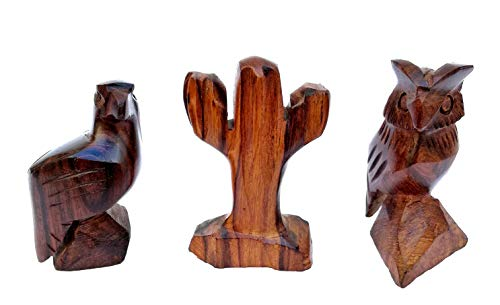 (FEPAC Saguaro Cactus Owl and Eagle Gift - Desert Figures Set 3 Pack - Hand Carved Wood for Home or Office Decor - Handmade Wooden Sculpture - Southwest Decor. )