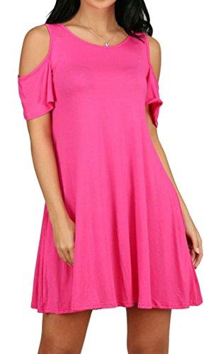 Neck Rose Pocket line Casual Pleated Red Solid Cold Crew Summer Shoulder A Womens Color Cromoncent Dresses wASq6fSC
