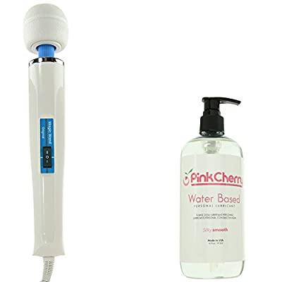 Hitachi Vibratex The Original Magic Wand in White and Blue ABS - With 6 Foot Power Cable - Bundle with PinkCherry 16 Ounce Water Based Personal Lubricant