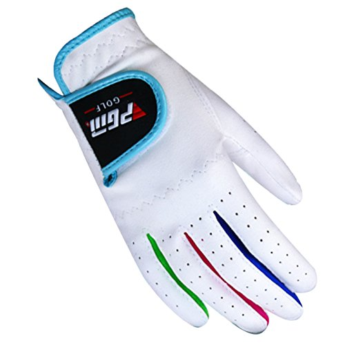 (PGM Boys Unisex Durable Golf Gloves for Junior Kids Stable Grip Microfiber Synthetic Gloves White Toddle Size 15)
