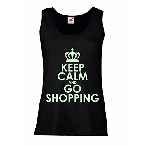 lepni.me Women's Tank Top Keep Calm and Go Shopping! Funny Grocery Bag Lifestyle Outfits (Large Black Fluorescent)