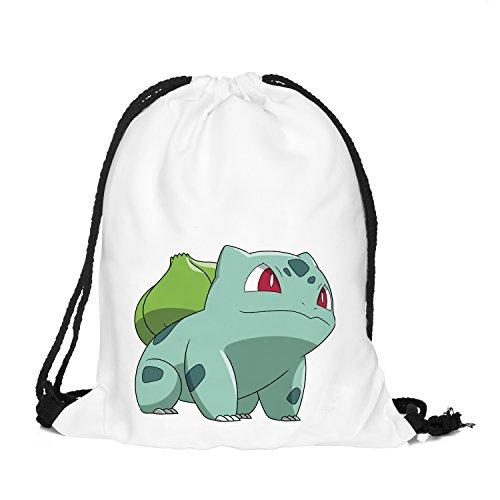 OLSS-Original Shoulder Bag Pumping Rope Backpack Pokemon Go! Pattern Printed Bundle Mouth Single Pocket Shoulder Bag (Green) - Free Pattern Purse