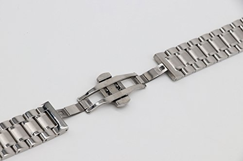 22mm Universal Curved End Metal Watch Band Solid 304 Stainless Steel Adjustable Silver SS Watch Strap by autulet (Image #2)