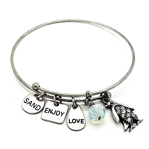 (KIS-Jewelry Symbology 'Penguin' Bangle Bracelet, Silver Plated - Expandable Wire Charm Bracelet Accented with Crystal Stones and One Shiny Glass Bead - Perfect Jewelry for)