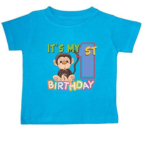 (inktastic - Monkey First Birthday Baby T-Shirt 12 Months Turquoise 265da)