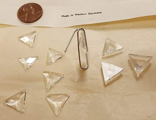 - 12 Vintage WEST German Glass Crystal 13mm. Triangle Faceted CABOCHONS