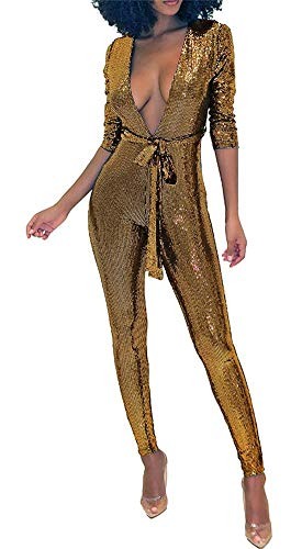 (Misemiko Womens Glitter Deep V Neck One Piece Jumpsuit Romper Long Sleeve Bodycon Playsuit with Belt)