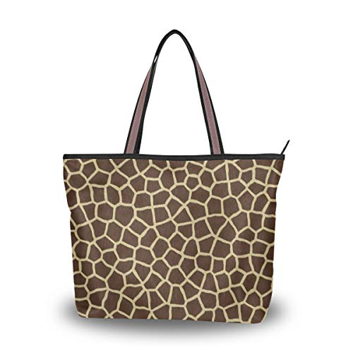 Large Handbag Animal Print Giraffe Texture Shoulder Bag Tote Beach Bags for -