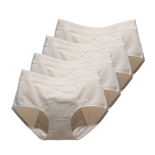 Phennie's Big Girls Menstrual Period Panties Pack of 4Young Female Absorbent Free Leak Briefs Teens No Leak Underwear Apricot Size Medium