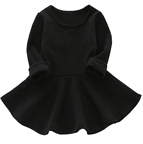 GSVIBK Baby Girls Cotton Dress Toddler Infant Ruffles Cotton Dresses Long Sleeve Solid Ruffle Dress Black 476 98