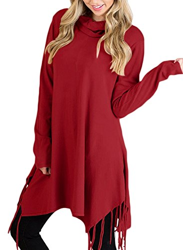 Malaven Women's Fringe Tunic Blouse Casual Cowl Neck Long Sleeve Loose Pullover Tops Burgundy S 4 6