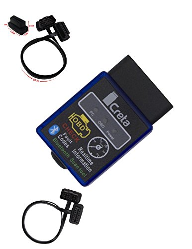 OBD2 Bluetooth Adapter OBDII - BEST Auto Code Reader Scanner For Android Windows - Wireless Data Feed To CellPhone - BONUS: Torque Pro (Android), 2Ft Ext Cable, Uninterrupted Data - 100% Warranty