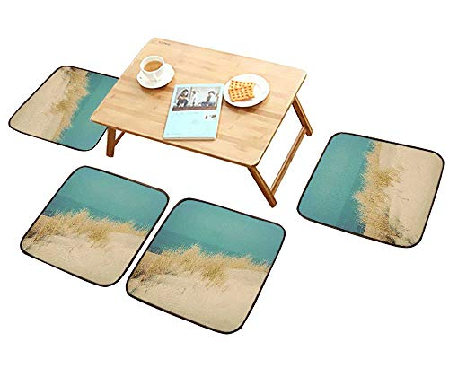 HuaWu-home Simple Modern Chair Cushions Calm Sunny Beach with Dunes and Grass Vintage Reusable Water wash W27.5 x L27.5/4PCS Set
