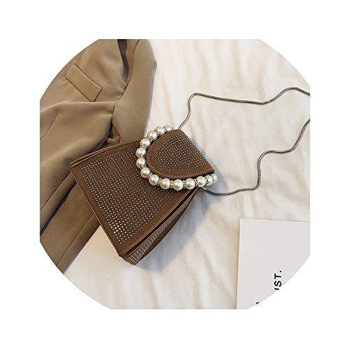 Pearls Beaded Handle Handbags Rivet Chains Shoulder Bags Pu Totes Leather Messenger,Brown