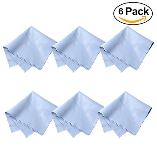 6-Pack Microfiber Cleaning Cloth 8×8 Inch by Vigear, for All Eyeglasses, Glasses, Camera Lenses, Phones, Tablets, LCD Screen, TV Screen, CD/DVD, Jewelry, Silverwares - Bans Clean To How Ray