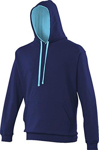 AWDis Unisex Erwachsene Oberbekleidung Winter Kapuzenpulli Zieh Über Uni Kapuzenpulli - Oxford Marineblau/ Hawaii Blau, S