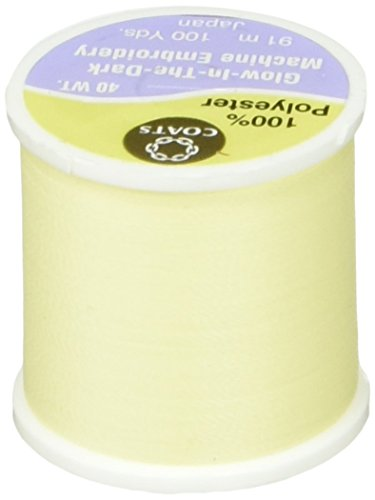 Coats & Clark Glow in The Dark Machine Embroidery Thread, 100-Yard, Yellow